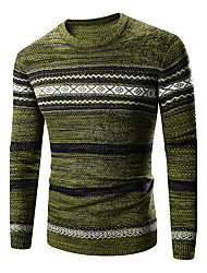 Men's Casual/Daily Simple Regular Pullover,Striped Geometric Brown Green Round Neck Long Sleeve Cotton Acrylic Winter Medium Stretchy