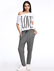 abordables -Mujer Tallas Grandes Algodón Delgado Chinos Pantalones - Un Color