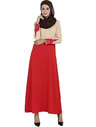 Women's Casual/Daily Simple Loose Dress,Solid Hooded Maxi Long Sleeve Blue / Red / Black / Gray Polyester All Seasons Low Rise