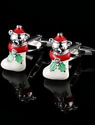 economico -Calzini di natale cuccioli gemelli bracciale pulsanti Natale Regali di Natale degli uomini dei manicotti degli uomini interessanti di