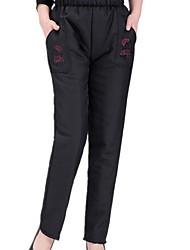 abordables -Mujer Tallas Grandes Tejido Oriental Tiro Alto Microelástico Corte Ancho Chinos Pantalones Poliéster Invierno
