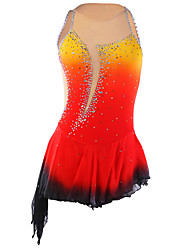 abordables -Robe de Patinage Artistique Femme / Fille Patinage Robes Orange Teinture Halo Ourlet Asymétrique Spandex Concurrence Tenue de Patinage Fait à la main Mode Sans Manches Patinage sur glace / Patinage