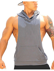 Gym Tank Top Sleeveless Breathable Top for Exercise & Fitness Running Cotton Loose Black Dark Blue Gray Army Green Watermelon Red M L XL