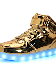 cheap -LED Light Up Shoes, Men's Sneakers Spring / Fall Comfort PU Casual Flat Heel Lace-up Silver / Gold Sneaker
