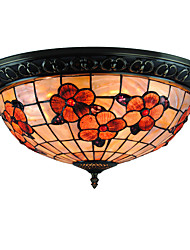 cheap -Rich flower Retro Tiffany Ceiling Lamp /Shell Shade Flush Mount Living Room  Bedroom Dining Room Kids Room light Fixture