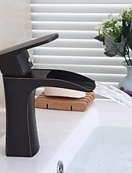 cheap -Contemporary Art Deco/Retro Modern Centerset Pre Rinse Waterfall Widespread Ceramic Valve Single Handle Two Holes Oil-rubbed Bronze,