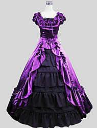 cheap -Victorian Costume Women's Outfits Purple Vintage Cosplay Charmeuse Short Sleeve Cap Sleeve Ankle Length Halloween Costumes