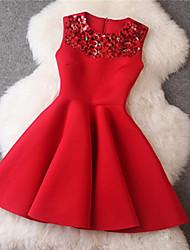 Patineuse Robe Femme Soirée / Cocktail Mignon,Couleur Pleine Col Arrondi Au dessus du genou Sans Manches Rose Rouge Noir Polyester Autres