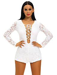 cheap -Women's Romper - Solid, Lace