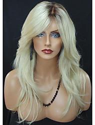 Donna Parrucche sintetiche Senza tappo Ondulati Biondo Capelli schiariti Radici scure Parte laterale Parrucca naturale costumi parrucche