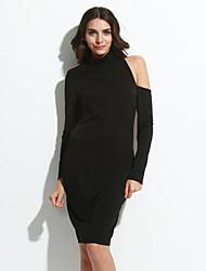 Dámské Sexy Klub Bodycon Šaty Jednobarevné,Dlouhý rukáv Rolák Midi Bílá / Černá Polyester / Spandex Léto High Rise Lehce elastické Tenké