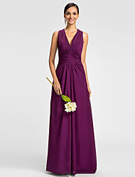 cheap -A-Line V Neck Floor Length Chiffon Bridesmaid Dress with Ruched Side Draping by LAN TING BRIDE®