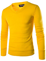 cheap -Men's Daily Casual Solid V Neck Pullover, Long Sleeves Winter Fall Cotton Polyester