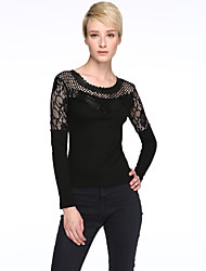 Women's Patchwork Black Blouse,Plus Size/ Casual Lace Cut Out Mesh Embroidery Flower Fashion Slim Nylon