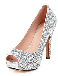 Women's Shoes Glitter Customized Materials Spring Summer Fall Winter Heels Stiletto Heel Platform Peep Toe Sequin For Wedding Dress Party