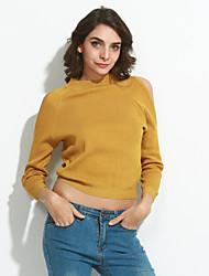 preiswerte -Damen Standard Pullover-Ausgehen Einfach Solide Rot Weiß Schwarz Grau Gelb Rollkragen Langarm Baumwolle Acryl Frühling Herbst Mittel
