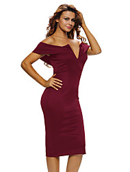 Women's Party Going out Sexy Bodycon Dress,Solid Off Shoulder Knee-length Short Sleeves Polyester Spandex Summer High Rise Micro-elastic