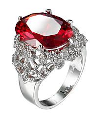 Кольцо Цирконий Циркон Цирконий Сталь Мода Красный Бижутерия Повседневные 1шт