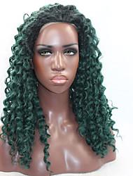 baratos -Perucas Lace Front Sintéticas Kinky Curly Cabelo Sintético Riscas Naturais Verde Peruca Mulheres Frente de Malha