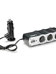 12v 24v tripla a 3 vie adattatore di alimentazione auto presa accendisigari splitter splitter con la carica auto porta USB