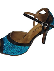 cheap -Women's Latin Salsa Sparkling Glitter Leather Sandal Practice Beginner Professional Indoor Performance Customized Heel Black/Blue Black