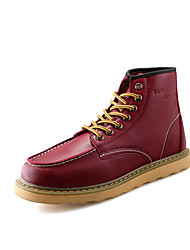 cheap -Men's Boots Winter Comfort PU Casual Flat Heel Lace-up Black / Brown / Red