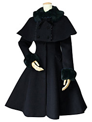 cheap -Winter Sweet Lolita Cape Coat Princess Lace Women's Coat Cosplay Black Long Sleeves Medium Length