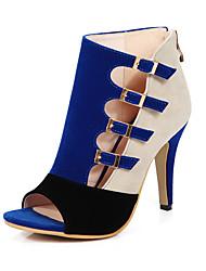 abordables -Mujer Zapatos Vellón Primavera / Verano Sandalias Tacón Stiletto Punta abierta Negro / Rojo / Azul / Fiesta y Noche / Fiesta y Noche