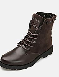 cheap -Men's Boots Fall / Winter Comfort PU / Fleece Casual Flat Heel Lace-up Black / Blue / Brown