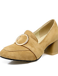 Women's Heels Spring Summer Fall Cashmere Casual Party & Evening Chunky Heel Buckle Black Beige Gray Yellow Green