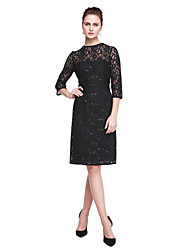 cheap -Sheath / Column Jewel Neck Knee Length Lace Mother of the Bride Dress with Sequins by LAN TING BRIDE®