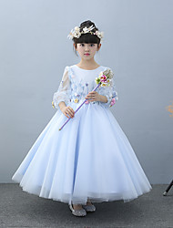 A-Line Ankle Length Flower Girl Dress - Tulle Charmeuse Half Sleeves Jewel Neck with Beading