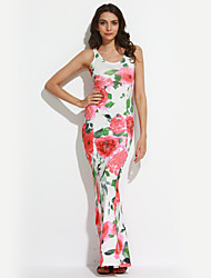 Feminino Sereia Vestido,Bandagem Sensual / Vintage Floral Decote V Longo Sem Manga Branco Poliéster Verão / Outono Cintura Média