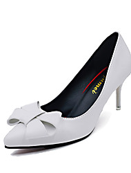 cheap -Women's Heels Comfort PU Spring Casual Walking Comfort Bowknot Stiletto Heel White Black Ruby 3in-3 3/4in