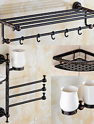 Set di accessori per il bagno Antiquariato 140 63 Portasciugamani a muro Mensola per il bagno Porta spazzolini Porta sapone da doccia