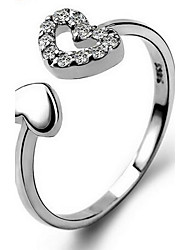 Women's Ring Love Heart Fashion Adjustable Open Personalized Sterling Silver Heart Cross Jewelry For Casual