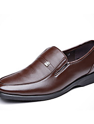 Men's Loafers & Slip-Ons Spring Fall Comfort PU Outdoor Office & Career Casual Low Heel Black Light Brown Walking