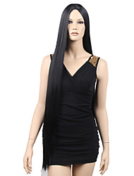Top Quality Fashion Middle Part Long Straight Black Synthetic Wigs for Sexy Lady Hot Sale.