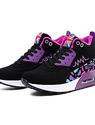 cheap -Women's Athletic Shoes Fall Winter Comfort Fleece Casual Flat Heel Lace-up Blue Pink Purple Fuchsia