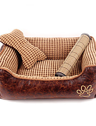 Cat Dog Bed Pet Cushion & Pillows Plaid/Check Breathable Soft Brown