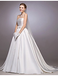 Princess Strapless Court Train Satin Wedding Dress with Bow Button by LAN TING BRIDE®
