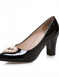 Feminino-Saltos-Conforto Inovador Chanel-Salto Grosso-Preto Vermelho Amêndoa-Sintético Courino Couro Ecológico-Casamento Escritório &