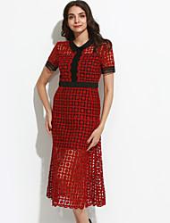 Feminino Bainha Vestido,Happy-Hour Sofisticado Sólido Colarinho de Camisa Médio Manga Curta Vermelho / Roxo Raiom Primavera Cintura Média