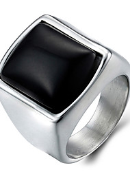 cheap -Men's Onyx Ring Statement Ring - Fashion Silver Ring For Daily Casual