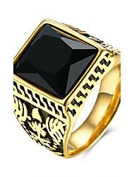 Homens Anel Europeu bijuterias Aço Inoxidável Aço Titânio Vidro Quadrado Forma Geométrica Jóias Para Festa Diário Casual