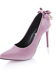 preiswerte -Damen Schuhe PU Frühling Sommer High Heels Flacher Absatz Spitze Zehe Schleife für Normal Schwarz Grau Rot Rosa