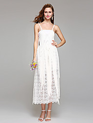 vaina / columna correas espaguetis longitud de té vestido de novia de encaje con encaje by huaxirenjiao