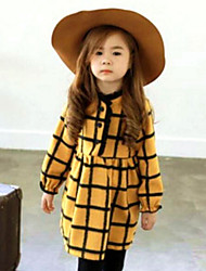Girl's Daily Plaid Dress,Cotton Spring Fall Long Sleeve Check Yellow Green