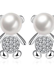Dámské Náušnice Kubický zirkon Cute Style Evropský Perly Zirkon Měď Postříbřené Animal Shape Medvěd Šperky Pro Svatební Párty Denní