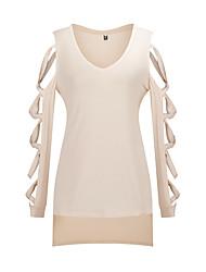 Tee-shirt Femme,Couleur Pleine Sortie Soirée Sexy Manches Longues Col en V Rouge Beige Noir Coton